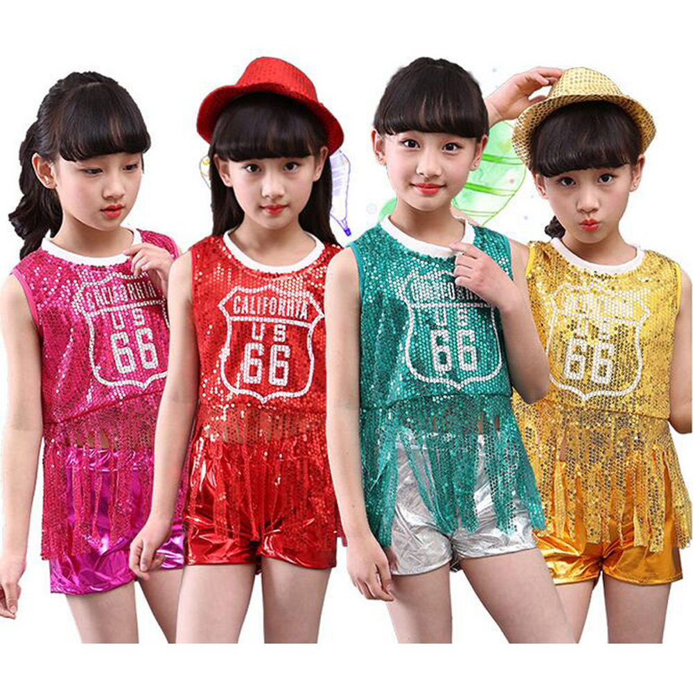 Bazzery Children's performance clothing girls sequined hip-hop dance dress suit new year celebration party show wear for dancing