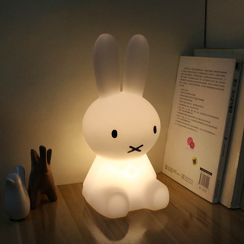 Ins Hot Rabbit Children LED Bed Table Lamp Dimmable Baby Bedroom LED Night Light USB rechargeable night light for Kids Gift free shipping plastic rechargeable battery illuminated christmas led snowman night table lamp led baby night light for gift