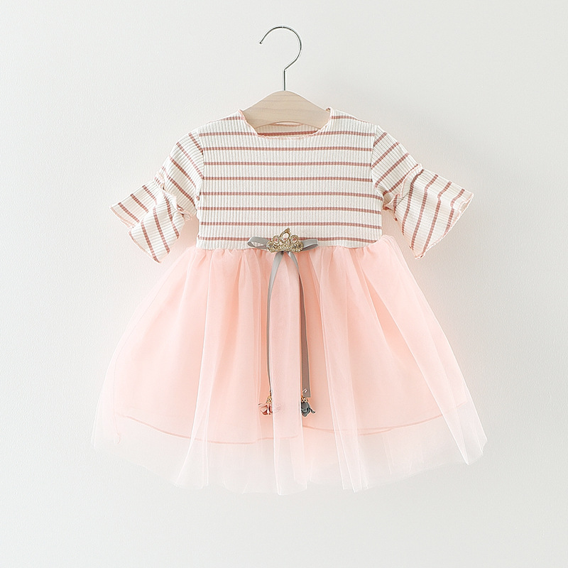 Fashion Summer Roupas De Bebe Flare Sleeve Baby Infants Girls Kids Striped Mesh Patchwork Tutu Princess