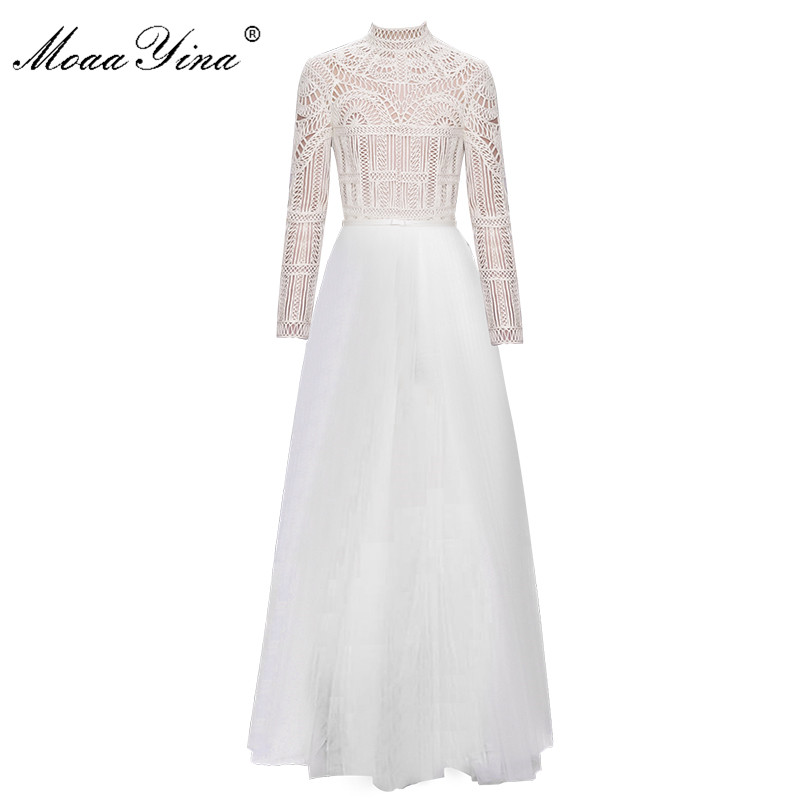 MoaaYina Fashion Designer Turtleneck Dress Spring Women Long sleeve Lace Hollow out Belt Spliced Mesh Elegant