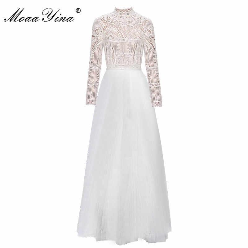 27e33b6c43f2 MoaaYina Fashion Designer Turtleneck Dress Spring Women Long sleeve Lace  Hollow out Belt Spliced Mesh Elegant