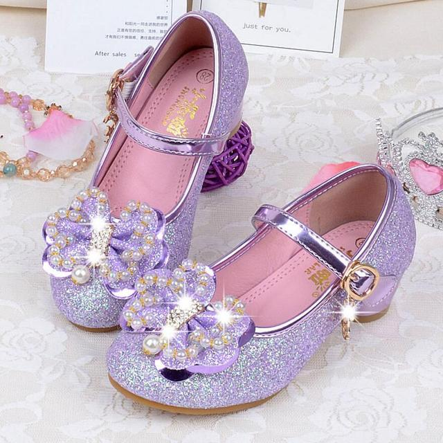 Autumn Baby Girls Shoes For Children Princess Butterfly Flower Pearl Glitter Casual Leather Kids Shoes Purple Pink Gold