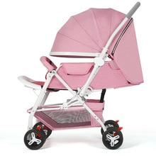 Lightweight Stroller Portable High Landscape Reversible Trolley Hot Mom Travel Pram Umbrella Pink