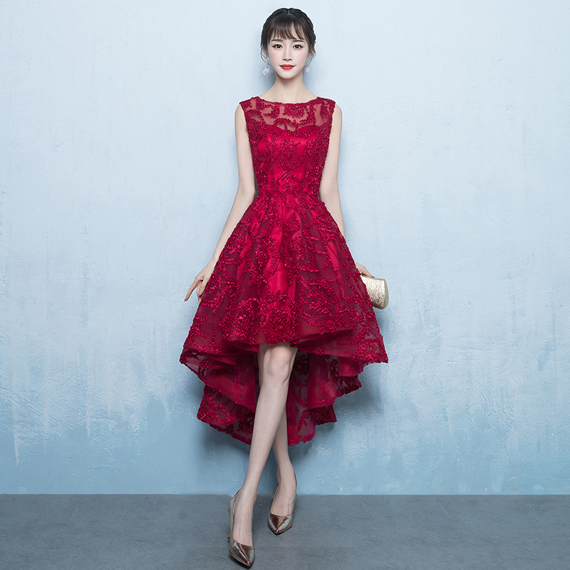 FOLOBE Vintage Burgundy Women Girls Lace Dresses Elegant See Through Lace A line High Low Formal