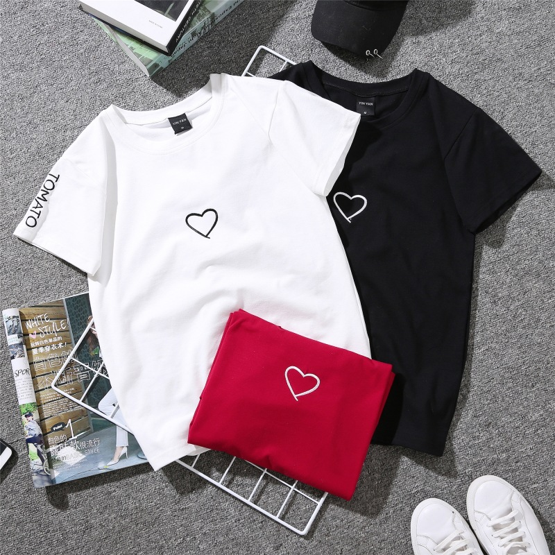 2019 Fashion Simple Tees Wild Short Sleeve T-shirt Female Embroidery Love Summer New Letter Wear T-shirt Women Clothing T-Shirts