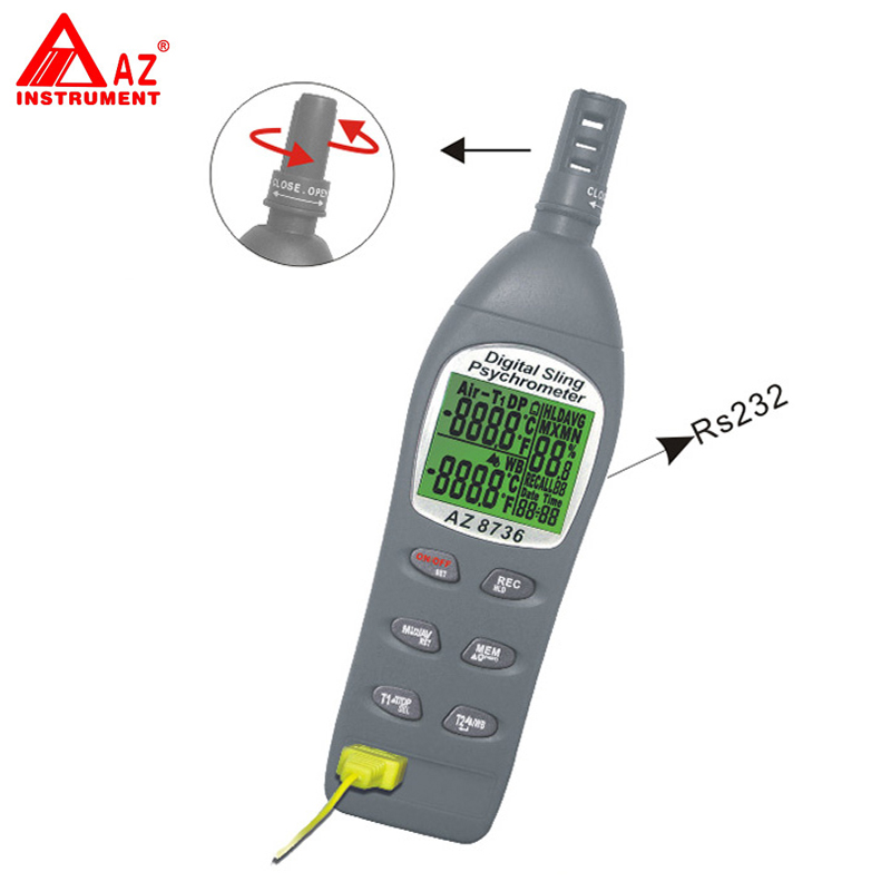 AZ-8736 Pocket Temperature/Humidity/Dew Point Meter/Wet Bulb Temperature and Humidity Tester fast shipping az8723 temperature humidity dew point meter wet bulb temperature and humidity az 8723