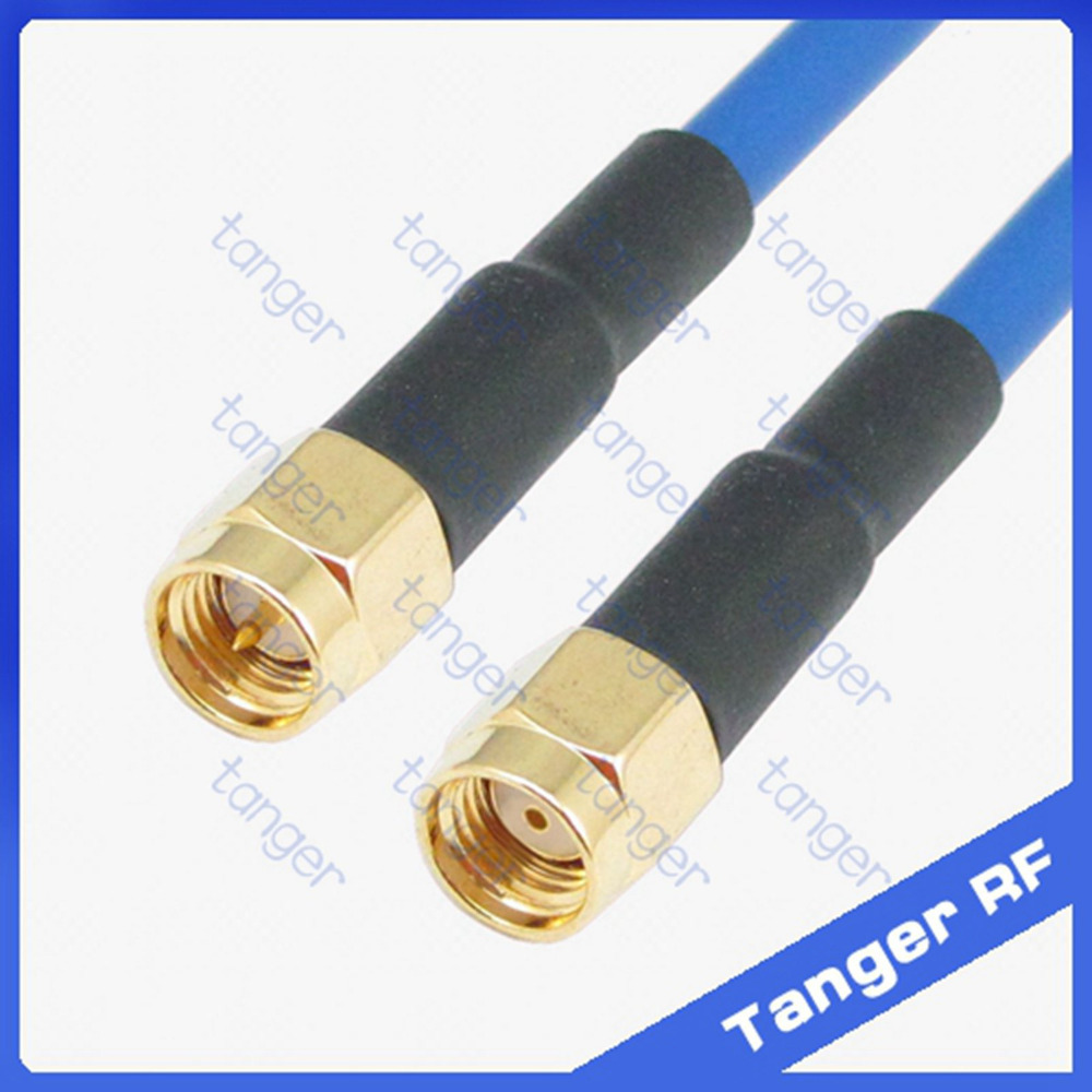 SMA male plug to RP-SMA male straight connector with RG402 RG141 RG-402 Coaxial Jumper blue cable 8inch 8 20cm RF Low Loss Coax 50cm rp sma female to rp sma male pigtail cable coaxial rg316
