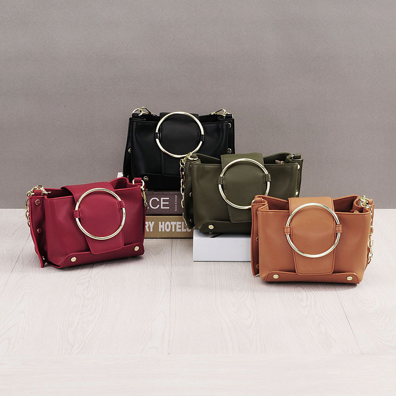 2018 NEW Fashion Ladies Bucket bag 100% Genuine Leather Women's Shoulder chain Handbag Vintage Ring design Small Messenger bags qiaobao 100% genuine leather handbags new network of red explosion ladle ladies bag fashion trend ladies bag