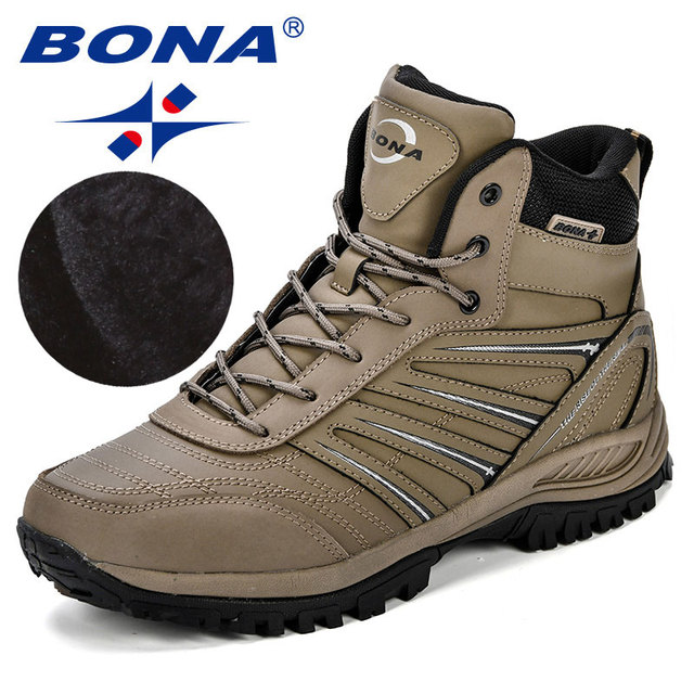 BONA 2018 Autumn Winter Men Boots Big Size 41-46 Popular Style Men Shoes Casual Fashion High-Cut Lace-Up Warm Men Anti-Slip Boot
