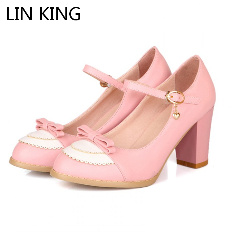 LIN KING Ladies Leather Platforms Lady Fashion Lolita Shoes Sexy Bowtie High Heel Shoes Women