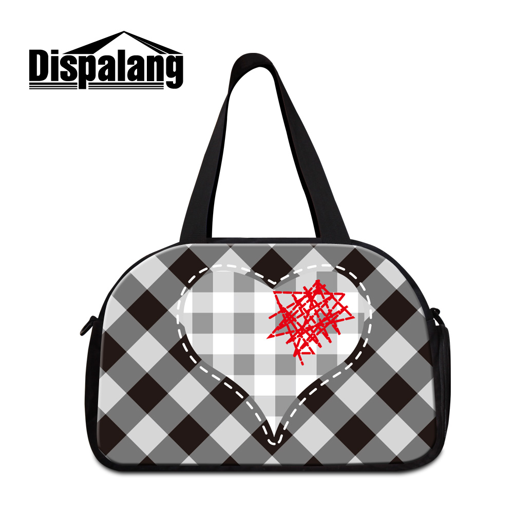 Dispalang Personalized Customized Workout Duffle Bags For Women Unique Design Love Plaid S Weekend Travel Bag With Shoe Unit
