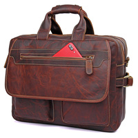 JMD Genuine Leather Red Brown Vintage Handbags For Men Super Practical Briefcase Bags Fashion And Big Capacity Laptop Bag 7085Q