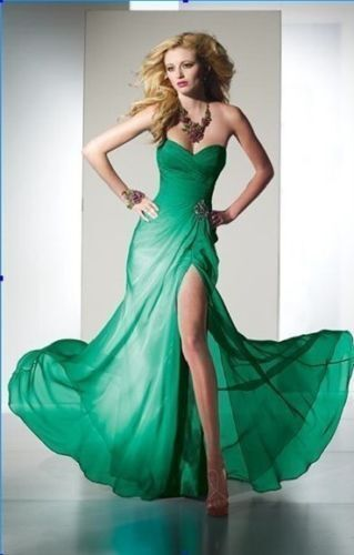 In stock floor length sexy high slit prom-dresses-cheap green red royal fast 426e73e01353