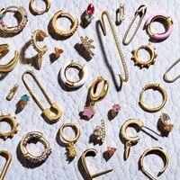 Punk-petite boucle d'oreille en or pour femmes, BA, émail métallique ethnique, déclaration ronde, boucle d'oreille en cristal coloré, bijoux cadeaux de mariage
