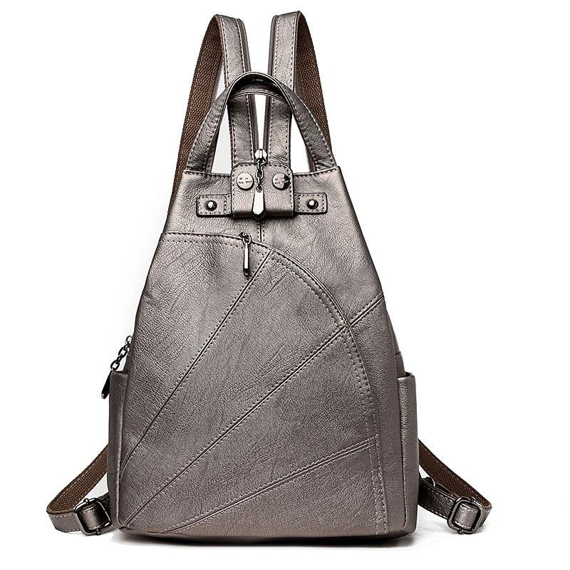Women Backpacks Black Soft Leather Multifunction Shoulder Zipper Bag Schoolbags For Teenagers Girls Female Bag Mochila