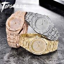 Topgrillz relógio de pulso, marca de luxo relógio em quartzo, ouro hip hop, relógios de pulso com micropave cz, aço inoxidável, pulseira