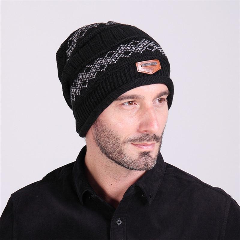 Men's Velvet Skullies Winter Wool Knitted Hat Male Sports Brand Outdoor Ski Beanies Cap Casual Solid Color Sets Headgear Hats skullies