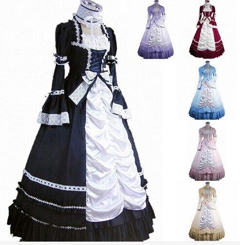 (GT006) Long sans manches sud cloche Costume gothique Lolita robe victorienne fête Halloween Costumes pour femmes adulte personnalisé