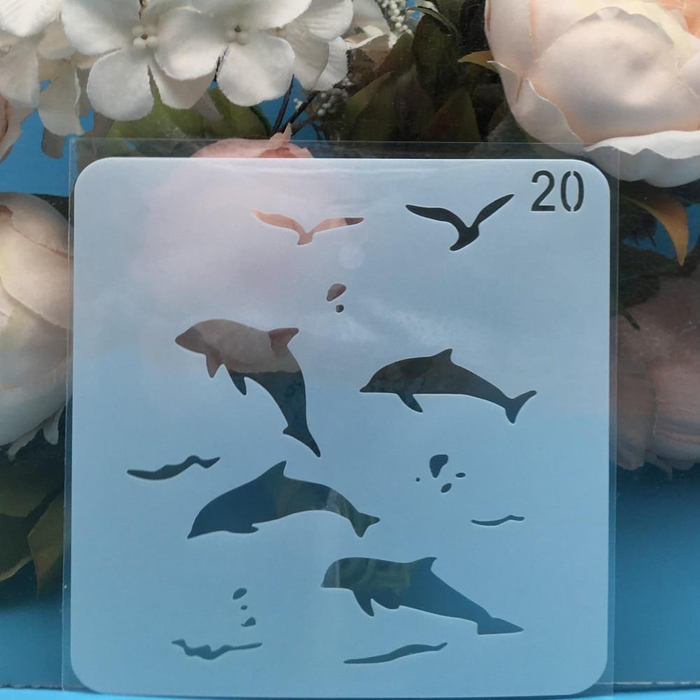 15cm Ocean Sea DIY Layering Stencils Wall Painting Scrapbook Coloring Embossing Album Decorative Card Template