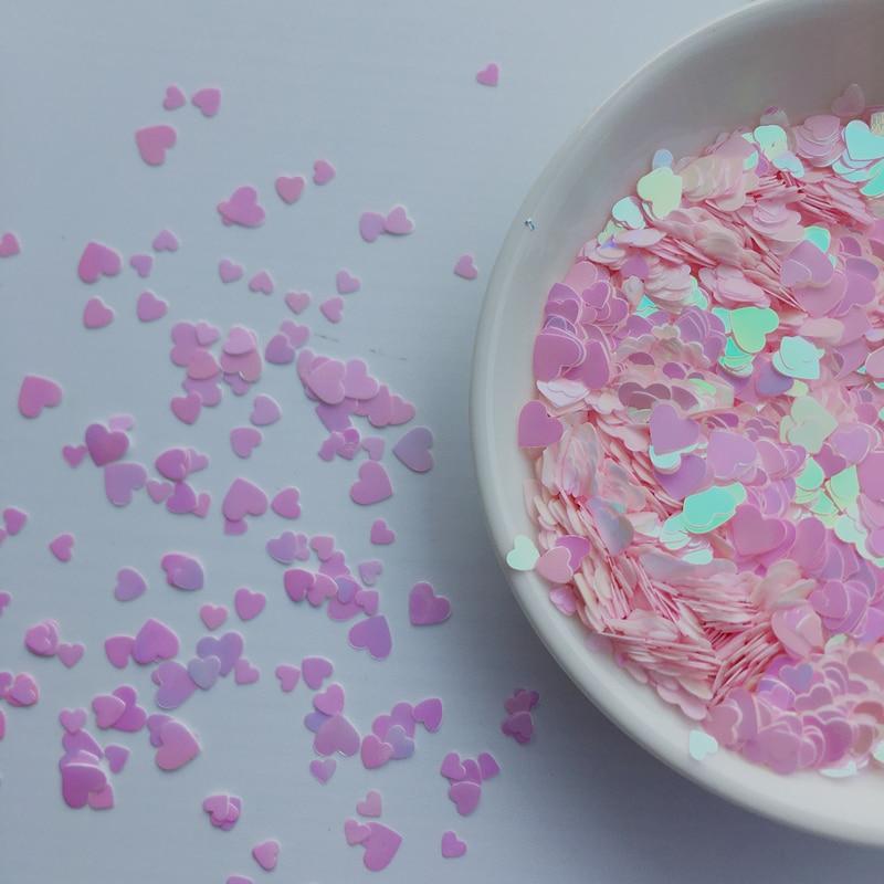 Ультратонкие 10 г, разные размеры, 3 мм, 4 мм, 6 мм, светло-розовые блестки для домашних животных в форме сердца, для фотографий/свадьбы, конфетти