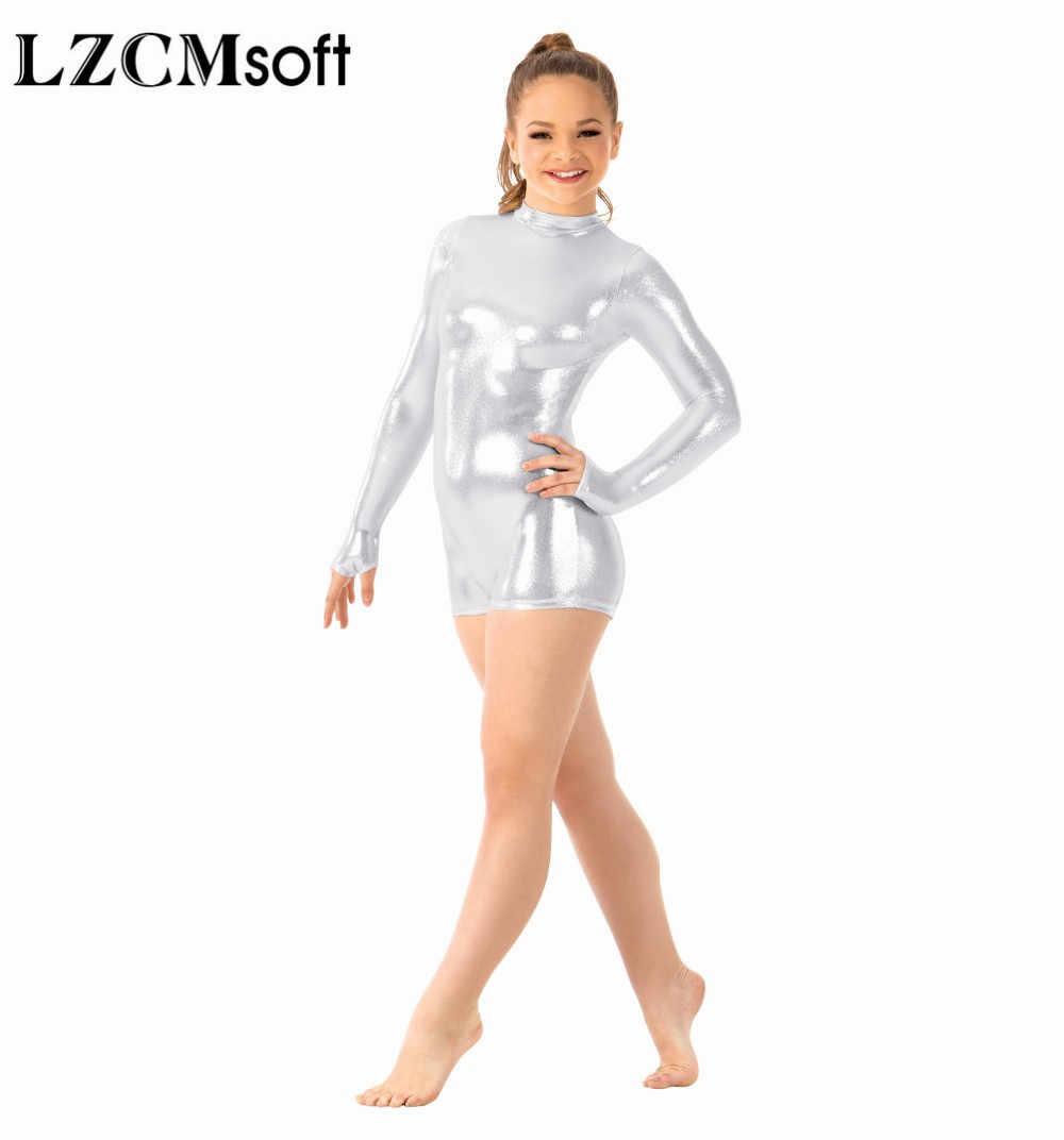 LZCMsoft dziecko złoto z długim rękawem Shorty Unitard dziewczyny błyszczące metalowe zespół taneczny kostiumy wydajności Mock szyi Biketard