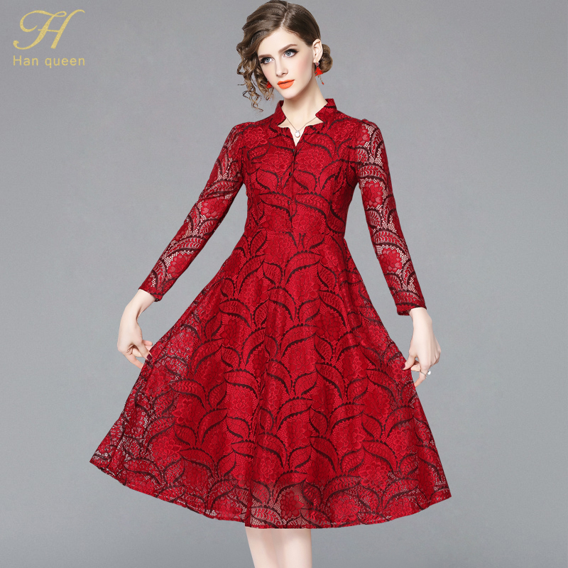 Us 2999 H Han Queen 2019 Spring Luxury Red Lace Women Casual Dresses New Arrival Fashion V Neck Ladies Elegant Evening Party Dress In Dresses From