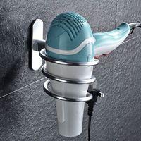 Uchwyt ścienny uchwyt do suszarki do włosów samoprzylepna przestrzeń aluminiowa półka łazienkowa stojak do przechowywania bez paznokci bez wiercenia w Suszarki do włosów od AGD na