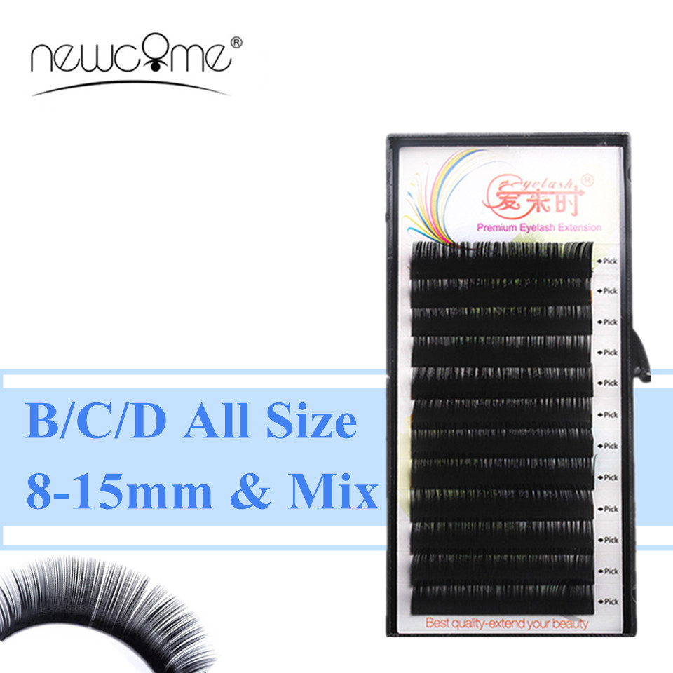 Wholesale 1 Tray Eyelash Extensions All Size Individual Eyelash Extension Fake False Eyelashes BCD Curl Natural Long Silk Lash
