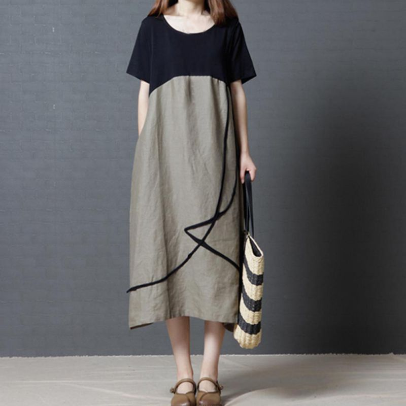 New Vestido Casual Dresses Women Chinese Linen Vintage Dress Ladies Sundress Plus Size Women Clothing