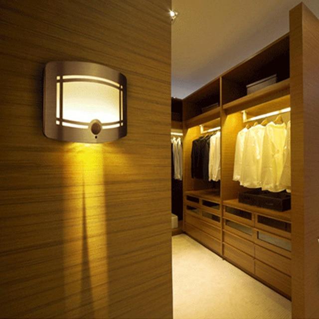 Smart PIR Sensor LED Wall Lamp AA Battery Portable Light Human Body Induction Lamp Bedside Lights