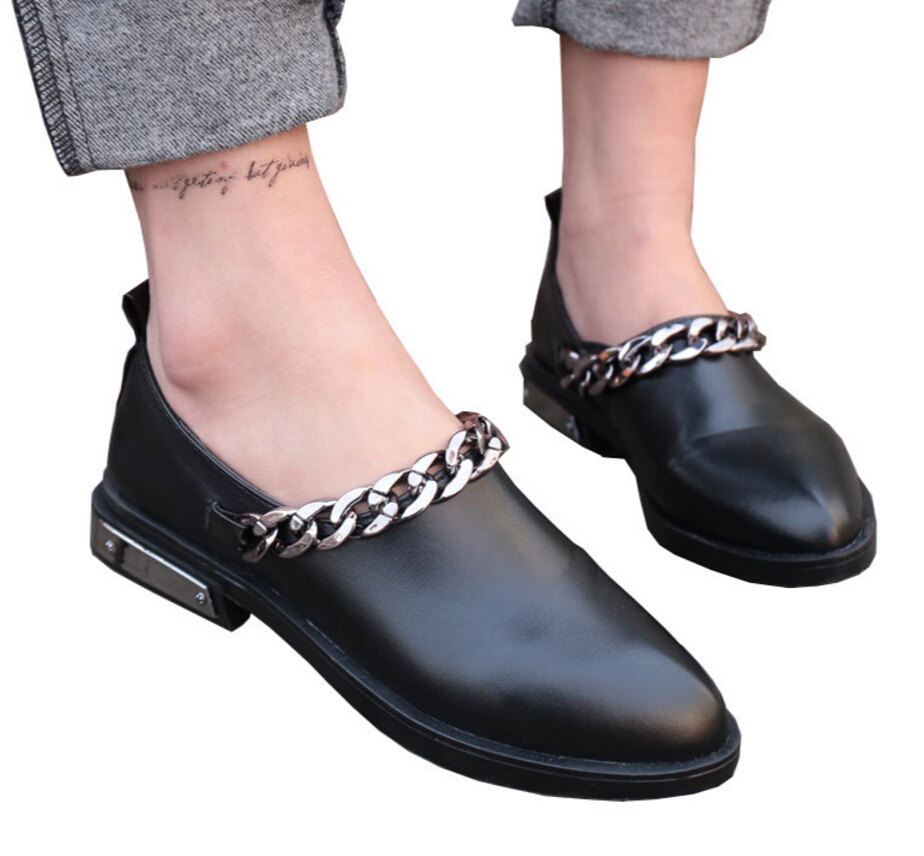 New Flats Women Four Seasons 2018 Casual black Shoes pointed Women Flat Leather shoes Fashion Leather Flats Women Oxford Shoes hot sale 2016 new fashion spring women flats black shoes ladies pointed toe slip on flat women s shoes size 33 43