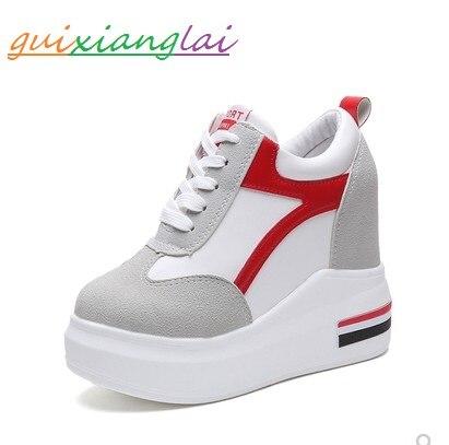 Automne nouveau Type fond épais à l'intérieur des chaussures pour femmes accentuées 12 cm chaussures de sport coréennes à talons hauts chaussures de loisirs en dentelle S de l'étudiant