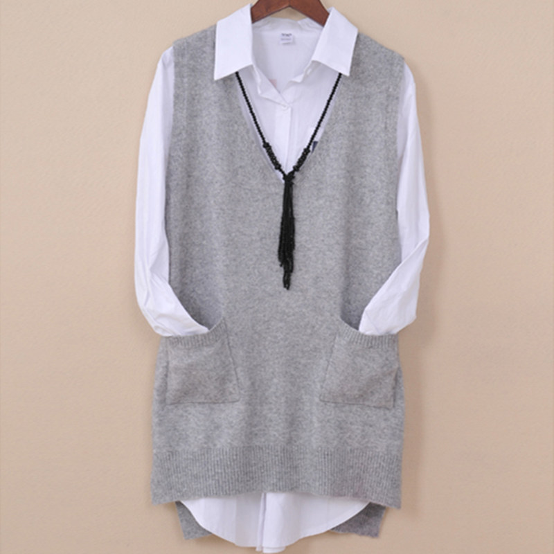 Spring Autumn Pure Wool Sweater Women Vest Sweater Vest Pocket Female Mid-length Vest V-nect Collar Kimono Jacket Pullo