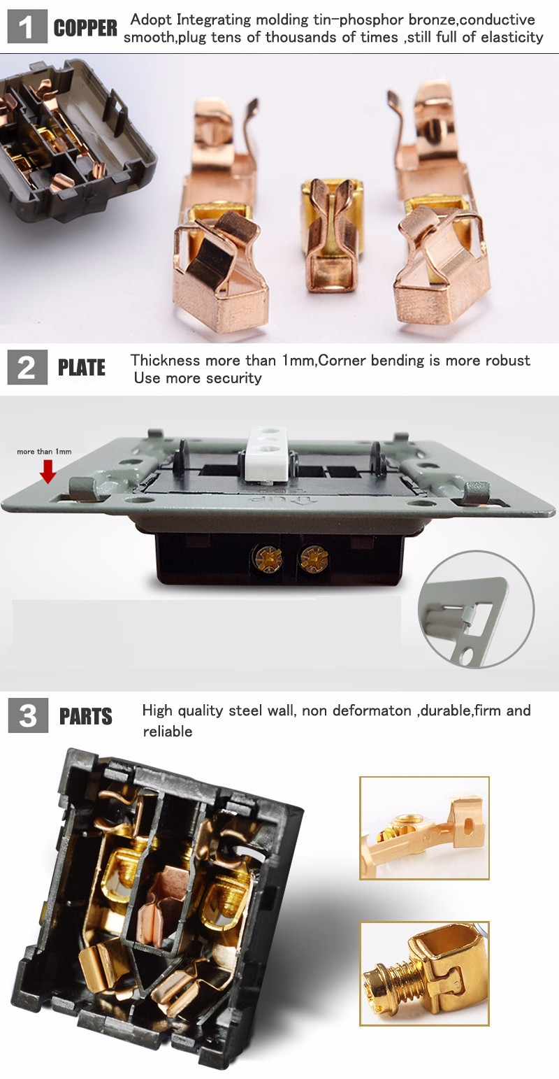 Mvava French Standard Wall Power Socket Electrical Wiring Outlet Ac 110250v16a Chromed Pc Panel Free Shipping