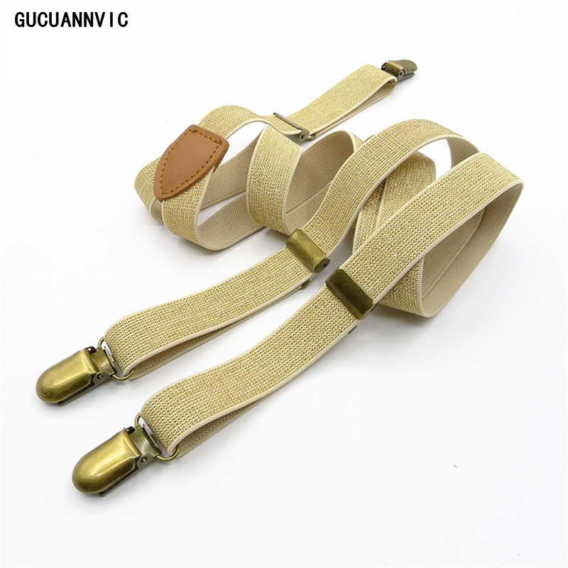 New Cool Suspender Gold Silver Fashion Elastic Bracesmen Men And Women Suspenders Three Wild Decorative Clip Can Be Adjusted