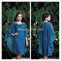 Melhor venda joelho de comprimento colher manga pescoço Chiffon azul Plus Size mãe dos vestidos de noiva ( AS213 )