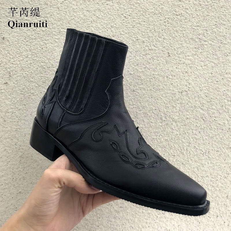 Qianruiti 2019 Spring Leather Chelsea Boots Mens Ankle Boots Laser-cut Embroidery Curved Shoes Low-heeled for Men EU39-EU46Qianruiti 2019 Spring Leather Chelsea Boots Mens Ankle Boots Laser-cut Embroidery Curved Shoes Low-heeled for Men EU39-EU46