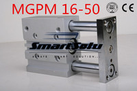 Free Shipping MGPM16 50 pneumatic cylinder double acting compact guide MGPM16 50 slide bearing type three rod air cylinders