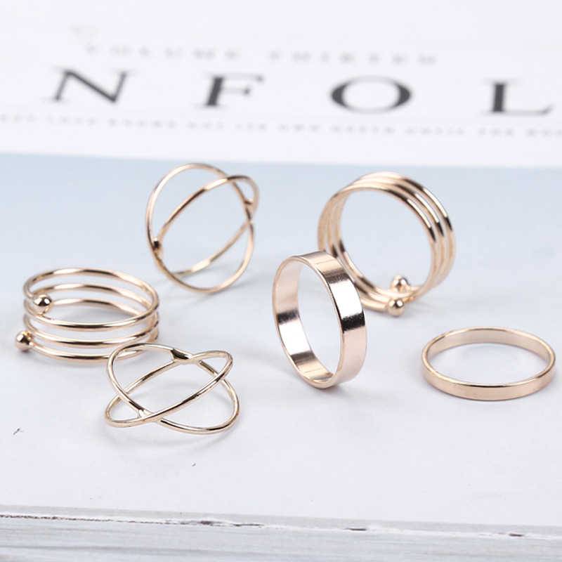 Unique Ring Set Punk Knuckle Stackable Rings for women Finger Ring 6 PCS Ring Set Best Selling Bijoux Wholesale