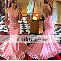 Exquisite Pink Pearls Mermaid Evening Party Dress Long 2019 Sheer Lace Appliques Formal Prom Gowns Vestido De Festa Abendkleider