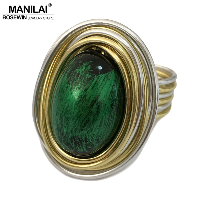 MANILAI Vintage Metal Wire Wrap Green Acrylic Handmade Steampunk Rings For Women