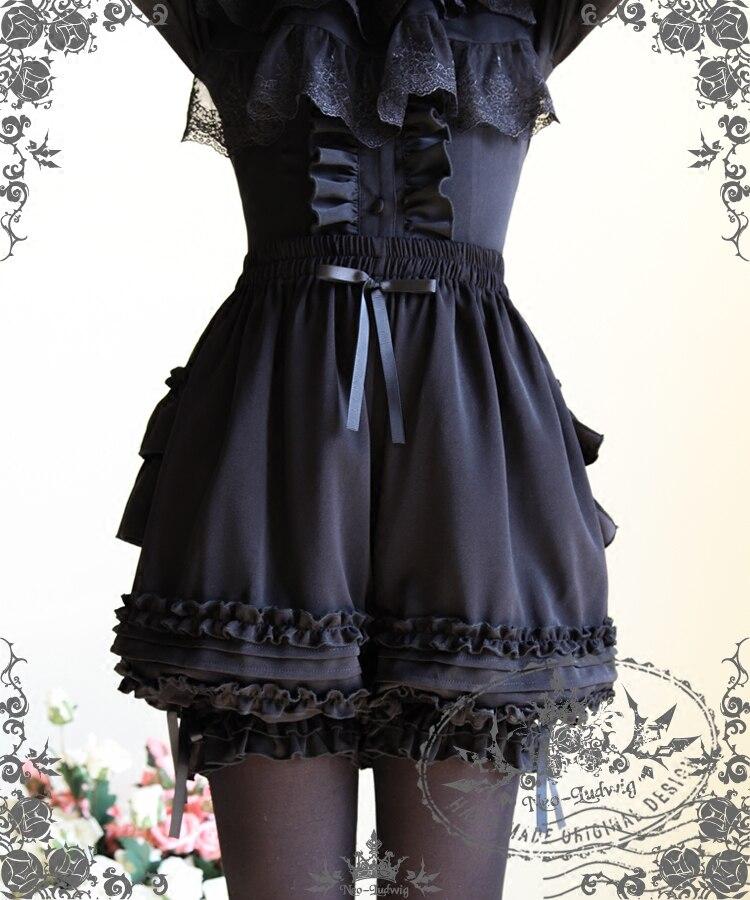 100% QualitäT Mode Lolita Cosplay Rüschen Shorts Pumphose Schwarz/weiß Jede Größe
