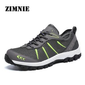 Image 1 - ZIMNIE erkekler yaz nefes rahat hava örgü ayakkabı erkekler rahat eğitmenler ayakkabı erkek Out yürüyüş ayakkabısı büyük büyük boy 39 ~ 48