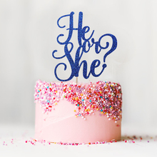 He or She? Glitter Cake Topper – Girl or Boy Birthday Decor Baby Shower Gender Reveal Party Decorations Supplies Cake Accessory