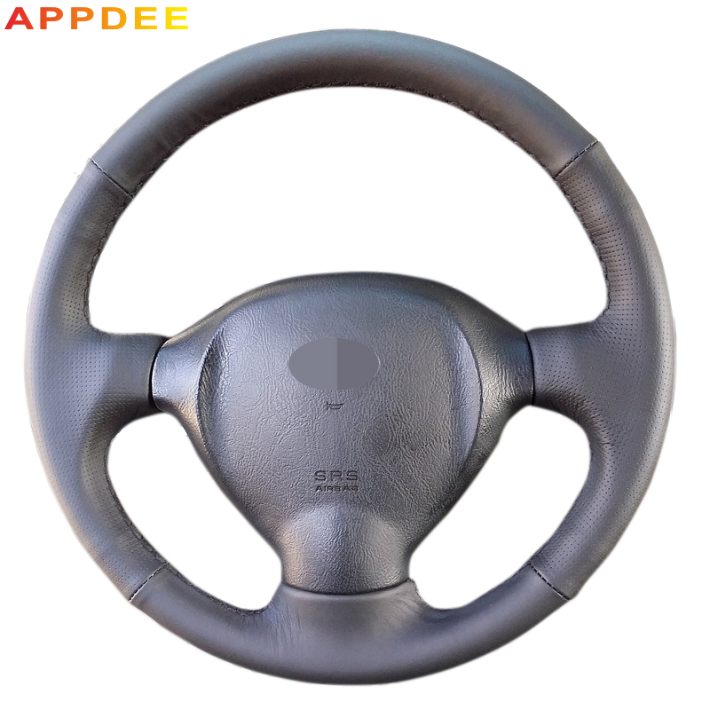 APPDEE Black Leather Hand -stitched Car Steering Wheel Cover for Hyundai Santa Fe