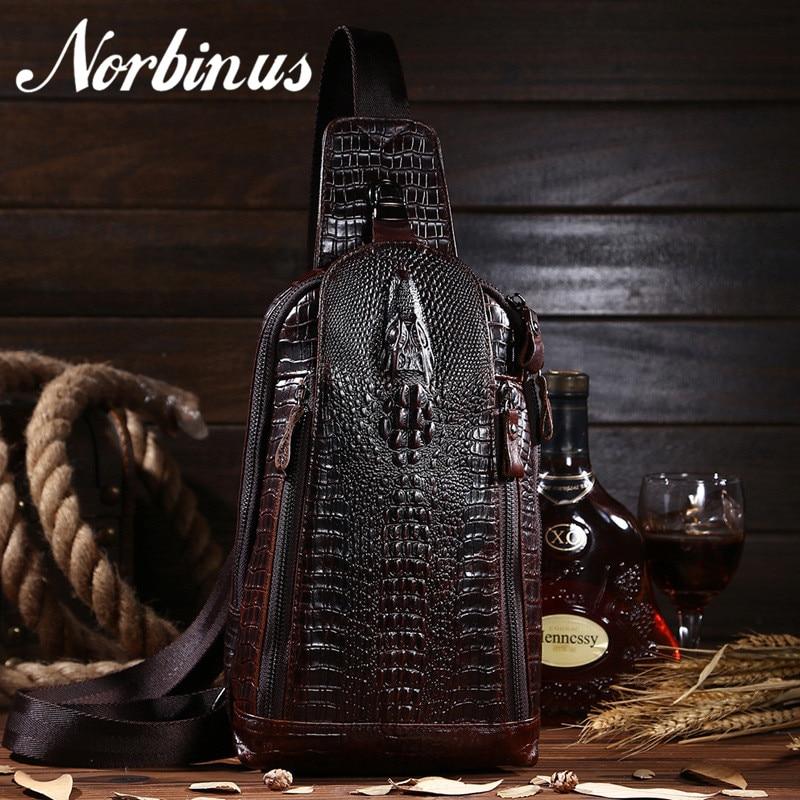 Norbinus Men Genuine Leather Chest Bags Crocodile Sling Bag Male Messenger Shoulder Bag Cowhide Crossbody Bag for Men Handbag цена