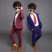 2016 High Quality Handsome Kids Tuxedo Suits Blue Dark Red Boys Wedding Suits ( Pants +Jacket) Cute Formal Occasion Clothing