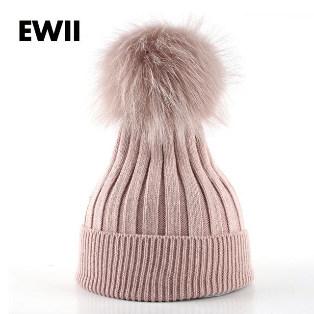 Invierno de las mujeres gorro de punto gorro de piel de las señoras gorros sombrero para mujer beanie skullies caps de la muchacha sombreros de lana gruesa femenina hueso