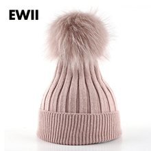 Women winter knitted fur cap ladies beanies gorro hat for woman beanie skullies caps girl 's wool thick female hats bone