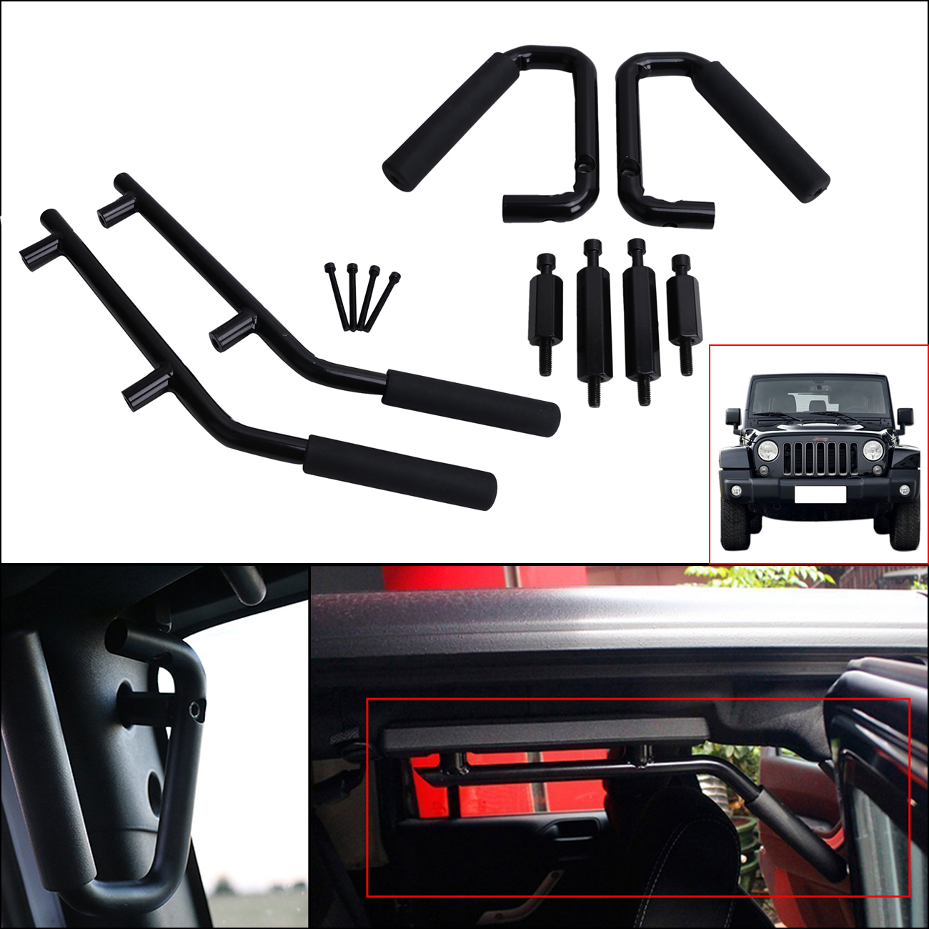 For Jeep Wrangler JK Anti Rust Hard Steel Front & Rear Grab Handle Roll Bar Grab Armrest 2007-2017 Modified Parts #CE0 2 pcs black car styling parts front rear grab bar handles for jeep wrangler jk 2007 2017 new fashion upgraded